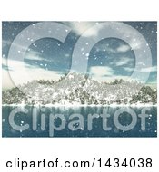 Clipart Of A 3d Winter Landscape With Snow Falling Over A Lake And Mountains Royalty Free Illustration