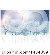 Clipart Of A 3d Winter Landscape With The Sun Shining And Snow Falling Over Trees Royalty Free Illustration