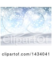 Clipart Of A 3d Hilly Winter Landscape With Snow Falling Stars Flares And Blue Sky Royalty Free Illustration