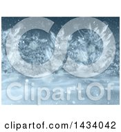 Clipart Of A 3d Winter Landscape With Snow Falling And Blurred Trees Royalty Free Illustration