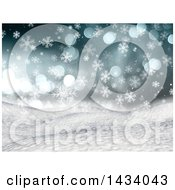 Clipart Of A 3d Hilly Winter Landscape With Snow Falling Flares And Blue Sky Royalty Free Illustration