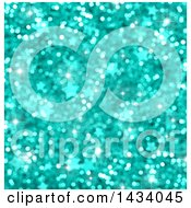 Clipart Of A Turquoise Blurred Bokeh Flare Glitter And Star Background Royalty Free Illustration