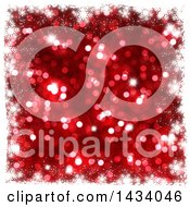 Clipart Of A Blurred Red Bokeh Flare Or Glitter Background With A Border Of White Snowflakes Royalty Free Illustration