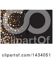 Clipart Of A Background Or Business Card Design Of Gold Sparkles Or Glitter On Black Royalty Free Vector Illustration