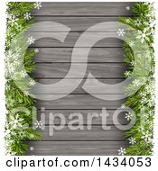 Clipart Of A Wood Christmas Background With Fir Branches And Snowflakes Royalty Free Vector Illustration