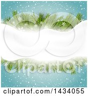 Clipart Of A Christmas Background With Snowflakes Snow And Fir Branches With Snow Text Space Royalty Free Vector Illustration
