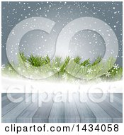 Clipart Of A Wooden Deck Or Table Over Snow Snowflakes And Branches Royalty Free Vector Illustration
