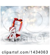 Clipart Of A 3d White Super Hero Santa Man Carrying A Christmas Gift In A Winter Landscape Royalty Free Illustration