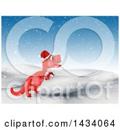 Poster, Art Print Of 3d Red Tyrannosaurus Rex Dinosaur Carrying A Gift In A Winter Landscape