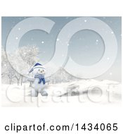 Clipart Of A 3d Happy Snowman Walking In A Winter Landscape Royalty Free Illustration