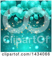 Clipart Of A Christmas Party Background Of 3d Balloons Over Snowflakes Bokeh Flares And Stars In Turquoise Blue Royalty Free Vector Illustration by KJ Pargeter