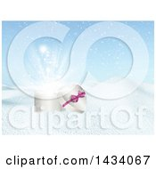 Clipart Of A 3d Heart Shaped Valentines Day Christmas Or Anniversary Gift Box In A Winter Landscape Royalty Free Illustration