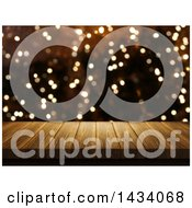 Clipart Of A 3d Wooden Table Or Deck Over Bokeh Flares Royalty Free Illustration