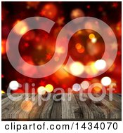 Clipart Of A 3d Wooden Table Or Deck Over Stars And Bokeh Flares Royalty Free Illustration