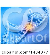 Clipart Of A 3d Scientific Medical Background Of Dna Strands With One Section Glowing Royalty Free Illustration