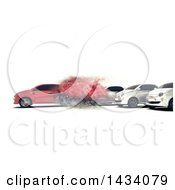 3d Red Car Speeding Away From Others On A White Background