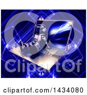 Poster, Art Print Of 3d Silver Robot Relaxing On A Laptop Computer Over A Blue Futuristic Background