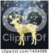 Clipart Of A Golden Sparkle Light Reindeer Over Bokeh Flares Royalty Free Vector Illustration