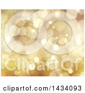 Clipart Of A Golden Hexagonal Bokeh Flare Christmas Background Royalty Free Illustration