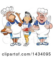 Cartoon Chef Cow Chicken And Pig With Brisket Ribs And Roasted Chicken
