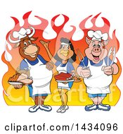 Clipart Of A Cartoon Chef Cow Chicken And Pig With A Roasted Chicken Brisket And Ribs Over Flames Royalty Free Vector Illustration