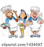 Poster, Art Print Of Cartoon Chef Cow Chicken And Pig With Shrimp And Fish