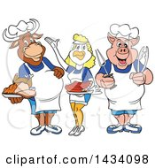 Poster, Art Print Of Cartoon Chef Cow Chicken And Pig With Ribs Brisket And Roasted Chicken