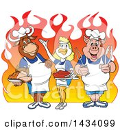 Cartoon Chef Cow Chicken And Pig With A Roasted Chicken Brisket And Ribs Over Flames
