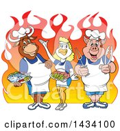Clipart Of A Cartoon Chef Cow Chicken And Pig With Fish And Shrimp Over Flames Royalty Free Vector Illustration by LaffToon