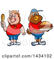 Cartoon Pig Girl Holding A Drumstick And Chicken Boy With A Pulled Pork Sandwich