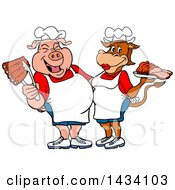 Clipart Of A Cartoon Chef Pig And Cow With Ribs And Brisket Royalty Free Vector Illustration by LaffToon