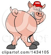 Clipart Of A Cartoon Rear View Of A Grinning And Winking Pig Looking Back And Wearing A Bbq Hat Royalty Free Vector Illustration