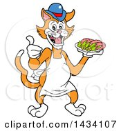 Cartoon Ginger Cat Chef Mascot Giving A Thumb Up And Holding A Platter Of Shrimp