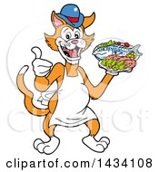 Cartoon Ginger Cat Chef Mascot Giving A Thumb Up And Holding A Fish And Platter Of Shrimp