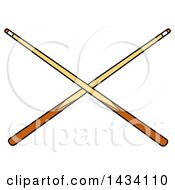 Cartoon Crossed Billiards Pool Cue Stick