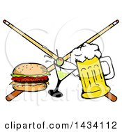 Clipart Of A Cartoon Hamburger Cocktail And Beer And Crossed Billiards Pool Cue Stick Royalty Free Vector Illustration by LaffToon