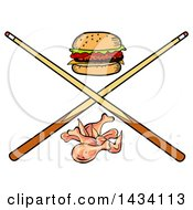 Clipart Of A Cartoon Hamburger Chicken Wings And Crossed Billiards Pool Cue Stick Royalty Free Vector Illustration by LaffToon