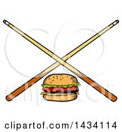 Clipart Of A Cartoon Hamburger And Crossed Billiards Pool Cue Stick Royalty Free Vector Illustration