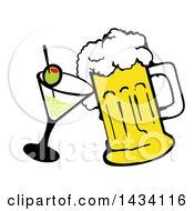 Cartoon Martini Cocktail And Beer Mug