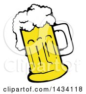 Clipart Of A Cartoon Over Flowing Mug Of Beer Royalty Free Vector Illustration