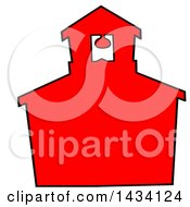 Cartoon Silhouetted Red School House With A Black Outline