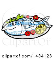 Cartoon Baked Fish With Tomatoes And Lemon Slices
