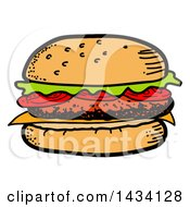 Clipart Of A Cartoon Hamburger Royalty Free Vector Illustration