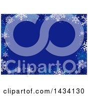 Blue Christmas Background With A Border Of Winter Snowflakes