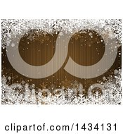 Golden Brown Striped Christmas Background With A Border Of White Winter Snowflakes