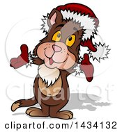 Clipart Of A Cartoon Christmas Santa Cat Wearing A Hat And Gloves Royalty Free Vector Illustration