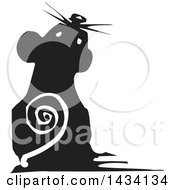 Clipart Of A Black And White Woodcut Mouse Looking Up Royalty Free Vector Illustration