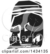 Clipart Of A Black And White Woodcut Mouse In A Hole With A Cat Trying To Reach It Royalty Free Vector Illustration