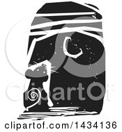 Clipart Of A Black And White Woodcut Mouse Looking Up At The Moon Royalty Free Vector Illustration