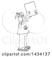 Clipart Of A Cartoon Black And White Male Hippie Protestor Wearing A Peace Shirt And Holding Up A Blank Sign Royalty Free Vector Illustration